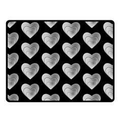 Heart Pattern Silver Fleece Blanket (small)