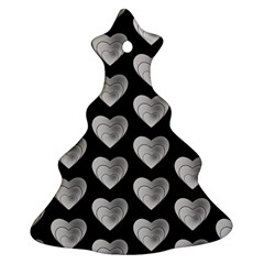 Heart Pattern Silver Christmas Tree Ornament (2 Sides)