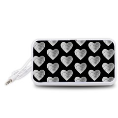 Heart Pattern Silver Portable Speaker (White)