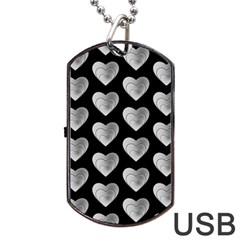 Heart Pattern Silver Dog Tag USB Flash (Two Sides)