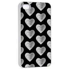 Heart Pattern Silver Apple iPhone 4/4s Seamless Case (White)