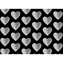 Heart Pattern Silver Birthday Cake 3d Greeting Card (7x5)
