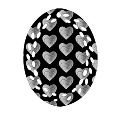 Heart Pattern Silver Oval Filigree Ornament (2-Side)