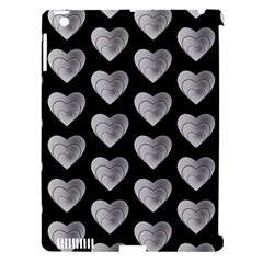 Heart Pattern Silver Apple iPad 3/4 Hardshell Case (Compatible with Smart Cover)