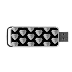 Heart Pattern Silver Portable USB Flash (Two Sides)