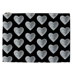 Heart Pattern Silver Cosmetic Bag (XXL)