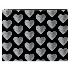 Heart Pattern Silver Cosmetic Bag (XXXL)