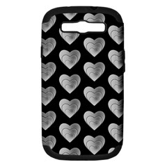 Heart Pattern Silver Samsung Galaxy S III Hardshell Case (PC+Silicone)
