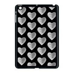 Heart Pattern Silver Apple iPad Mini Case (Black)