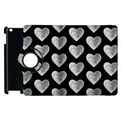 Heart Pattern Silver Apple iPad 3/4 Flip 360 Case