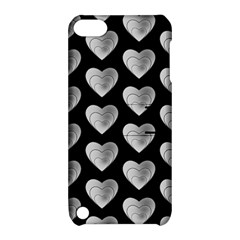 Heart Pattern Silver Apple iPod Touch 5 Hardshell Case with Stand