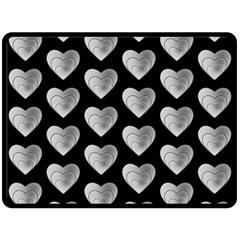 Heart Pattern Silver Double Sided Fleece Blanket (large)