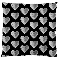 Heart Pattern Silver Standard Flano Cushion Cases (two Sides)
