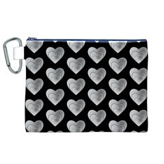 Heart Pattern Silver Canvas Cosmetic Bag (XL)