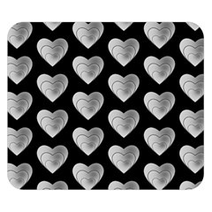 Heart Pattern Silver Double Sided Flano Blanket (small)