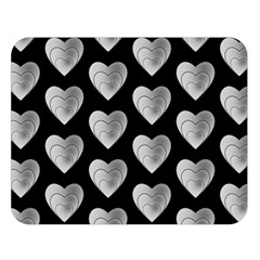 Heart Pattern Silver Double Sided Flano Blanket (Large)