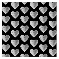 Heart Pattern Silver Large Satin Scarf (square)