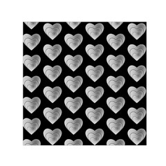 Heart Pattern Silver Small Satin Scarf (Square)