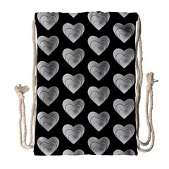 Heart Pattern Silver Drawstring Bag (large)