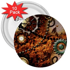 Steampunk In Noble Design 3  Buttons (10 Pack)