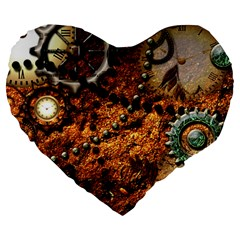 Steampunk In Noble Design Large 19  Premium Heart Shape Cushions
