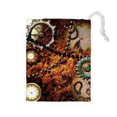 Steampunk In Noble Design Drawstring Pouches (Large)
