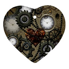 Steampunk With Clocks And Gears And Heart Ornament (Heart)