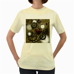 Steampunk With Clocks And Gears And Heart Women s Yellow T-Shirt
