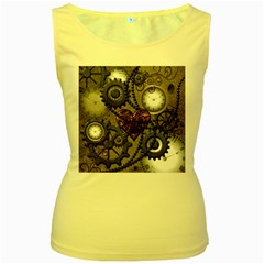 Steampunk With Clocks And Gears And Heart Women s Yellow Tank Tops