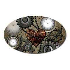 Steampunk With Clocks And Gears And Heart Oval Magnet