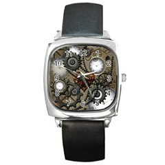 Steampunk With Clocks And Gears And Heart Square Metal Watches