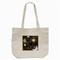Steampunk With Clocks And Gears And Heart Tote Bag (cream)