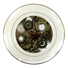 Steampunk With Clocks And Gears And Heart Porcelain Plates