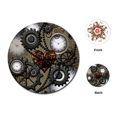 Steampunk With Clocks And Gears And Heart Playing Cards (round)