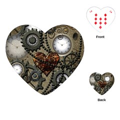 Steampunk With Clocks And Gears And Heart Playing Cards (heart)