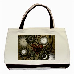 Steampunk With Clocks And Gears And Heart Basic Tote Bag