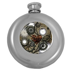Steampunk With Clocks And Gears And Heart Round Hip Flask (5 oz)