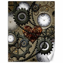 Steampunk With Clocks And Gears And Heart Canvas 12  x 16