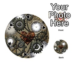 Steampunk With Clocks And Gears And Heart Playing Cards 54 (Round)