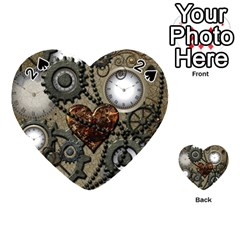 Steampunk With Clocks And Gears And Heart Playing Cards 54 (Heart)