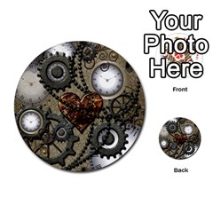 Steampunk With Clocks And Gears And Heart Multi-purpose Cards (Round)