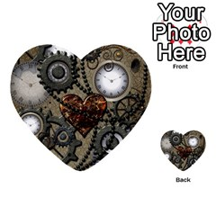Steampunk With Clocks And Gears And Heart Multi Purpose Cards (heart)
