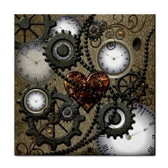 Steampunk With Clocks And Gears And Heart Face Towel