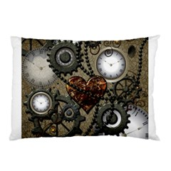 Steampunk With Clocks And Gears And Heart Pillow Cases