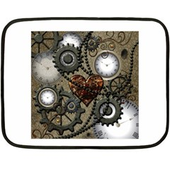 Steampunk With Clocks And Gears And Heart Fleece Blanket (Mini)