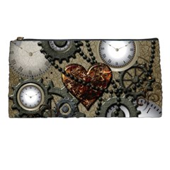 Steampunk With Clocks And Gears And Heart Pencil Cases