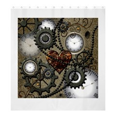 Steampunk With Clocks And Gears And Heart Shower Curtain 66  x 72  (Large)
