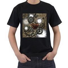 Steampunk With Clocks And Gears And Heart Men s T-Shirt (Black)