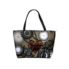Steampunk With Clocks And Gears And Heart Shoulder Handbags