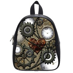 Steampunk With Clocks And Gears And Heart School Bags (Small)